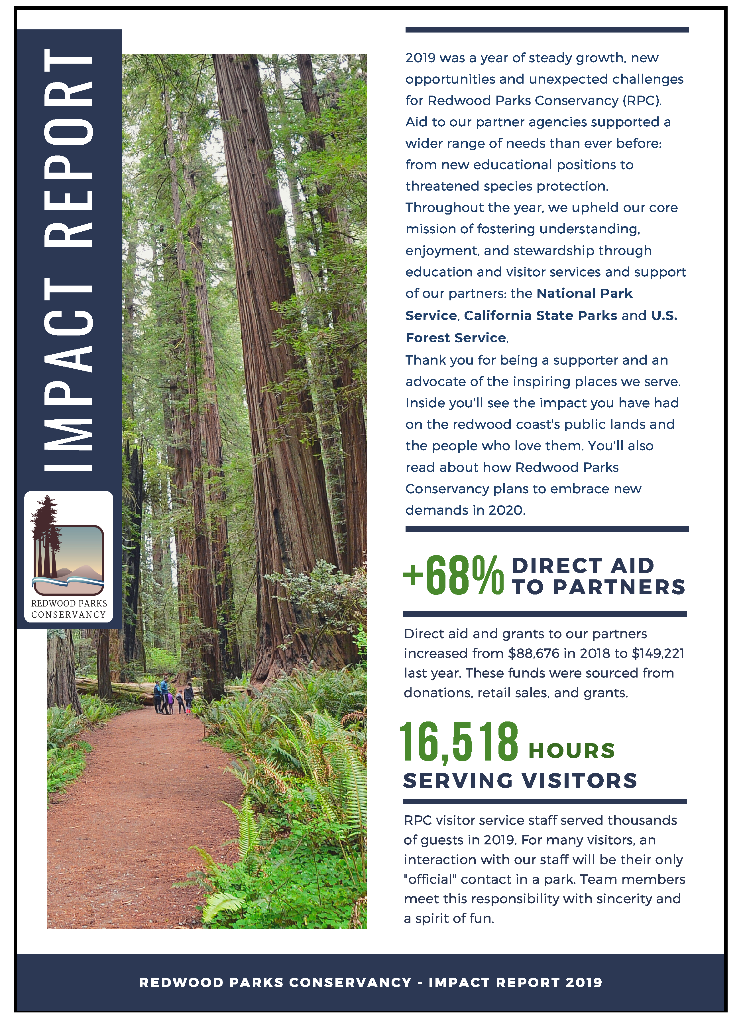 Image of the cover of the Redwood Parks Conservancy Impact Report