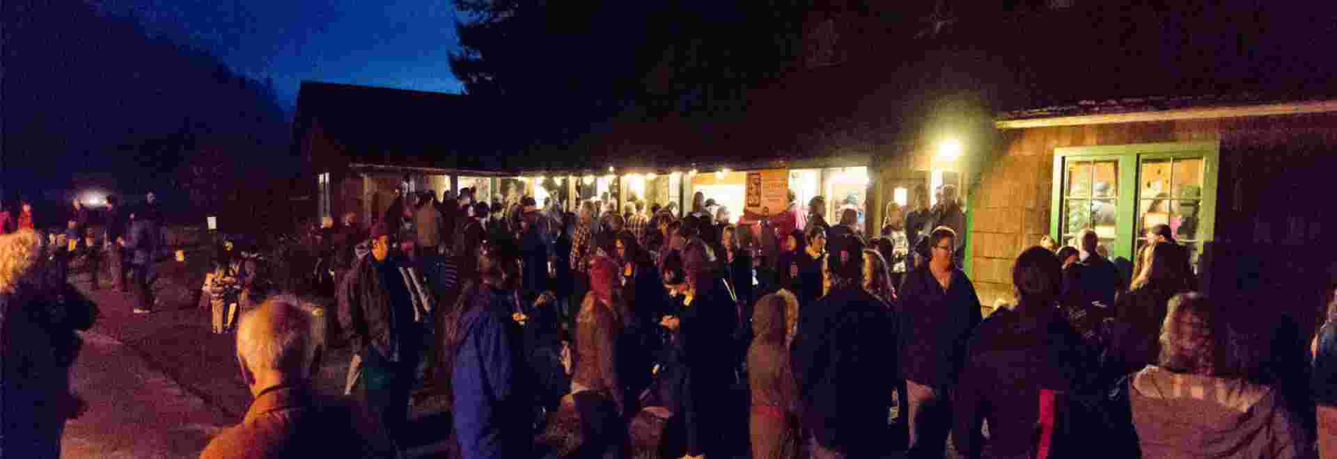 Attendees of the Candlelight Walk at Prairie Creek Redwoods State Park